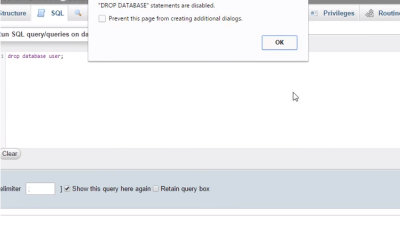 """ERROR: [""""DROP DATABASE"""" Statement Is Disabled] In PhpMyAdmin – Fixed"""